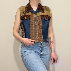 Vintage Vest Denim Animal Plaid Patchwork Button L